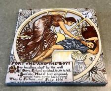 Amazing Early Antique Wheeling Cushion Ceramic Fable Tile Walter Crane Rare