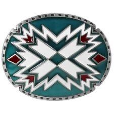 Vtg Southwestern Green Red Design Belt buckle Navajo Native American Chevron Big