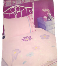 SINGLE BED DUVET COVER SET CHLOE BABY PINK EMBROIDERY FLORAL GIRL SIMPLE BEDDING