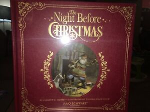 "NEW Fao Schwarz Leather Bound Hardcover ""The Night Before Christmas"" Story Book"