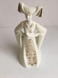 Poole Pottery Abigail White & Gold Floral Figure Figurine CS