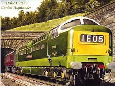 Deltic D9106 Gordon Highlander Blank Railway Greeting Card, Christmas Birthday