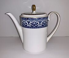 Wedgwood Bone China Ralph Lauren Empire Coffee Pot With Lid Blue & White England