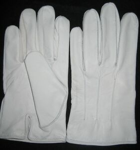 Men's White Leather Dress Military and Wedding Gloves - Ball - Opera - Formal