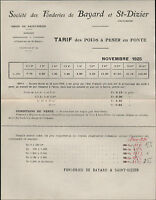 BAYARD / SAINT-DIZIER (52) USINE FONDERIE / POIDS à PESER Tarification en 1925