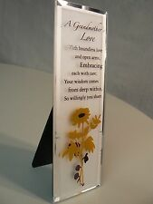 About Face Designs GRANDMOTHER GLASS PLAQUE #124208 NEW Yellow Flowers Brown