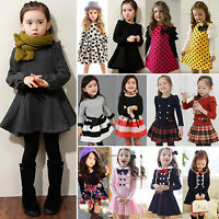 Baby Kids Girls Clothes Long Sleeve Princess Dress Outfit Preppy School Costume