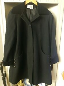 Gorgeous Black Vintage Wool & Cashmere Coat by Filey, Size 12
