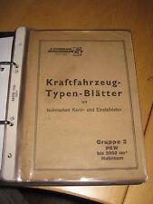 KFZ-Typenblätter PKW 1935 - 1949 -z.b.-BMW 315/319/326/327- VW Typ 11 / 51 .etc