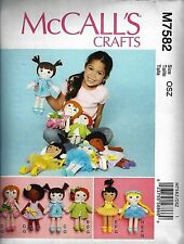 Just Out NEW McCalls 7582 SOFT DOLL PATTERNS 5 Hairstyles, Clothes and more!