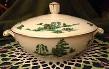 Narumi Noritake Pattern White Green Willow Pagoda Covered Serving Bowl