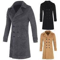 Stylish Men Classic Wool Double Breasted Pea Coat Winter Long Jacket Trench Coat