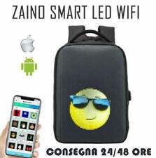 Zaino LED Smart Impermeabile Nero con Display programmabile Ricarica USB + WIFI