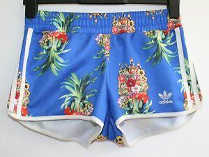 Womens ADIDAS X FARM Originals Pineapple Print Floral Gym Shorts Blue Size: UK6