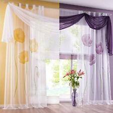 Schlaufenschal Vorhang Gardine Gardinenschal Dekoschal Blumen Gelb Lila M12096