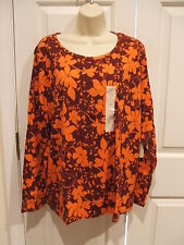 NWT St Johns Bay Orange BURGUNDY Floral  Tee  Shirt Top Womens Plus Size  1X