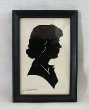 "Vintage Framed Silhouette, Woman's Face, Artist Signature ""Colette"", Dated 1951"