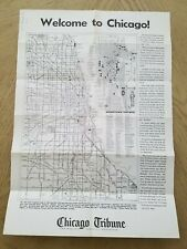 1970s Chicago Tribune PROMO Souvenir City Street Road Map Sights Directory Ill