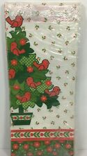 Vtg Hallmark Christmas Paper Table Cloth Cover 60x102 Tree Birds Border Print