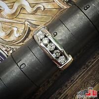 Mens Real 14k White Gold Geniune Diamond 0.50ctw Ring Band Wedding Size 9 Round