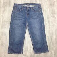 Women's NY & CO Dark Wash Straight Leg Blue Jean Capris Cropped Pants Size 12