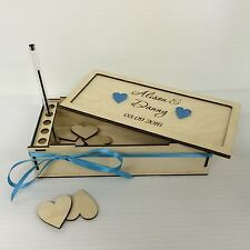 PERSONALISED ENGRAVED ASSEMBLED BIRCH PLYWOOD BOX FOR HEARTS WEDDING DROP BOX