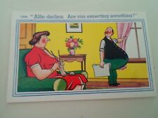"""FAT MAN HUMOUR Retro Postcard """"Alfie Darling, Are You Expecting Something  §B242"""