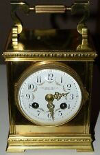 Small antique French gilt brass mantel / carriage clock