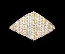 CRYSTAL RHOMBUS SQUARE DIAMOND SHAPE LARGE HAIR BARRETTE CLIP GOLD TONE CLEAR
