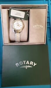 Rotary Ladies Two Tone Silver/Goldtone MOP Bracelet Watch LB00136/41 New in box