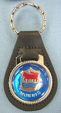 Vintage Blue MORRIS Motor Co. Black Leather Chrome Keyring Key Fob Key Holder