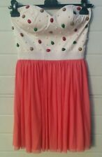 Vestito donna mini abito corpetto cuore top gemme perle Rare London taglia S