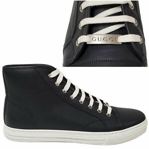 GUCCI MENS SNEAKERS HI TOP BLUE MICRO SOFT LEATHER w LOGO 7.5G US 8.5