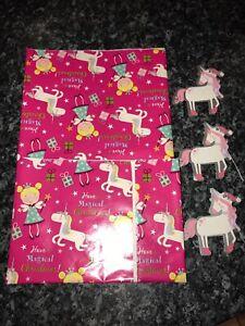 X/Large 3M x 50cm Flat Sheet Christmas Gift Unicorn & Fairies Wrap Paper & 3Tags
