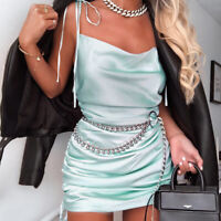 Sexy Women Satin Ruched Mini Dress Party Cocktail Spaghetti Strap Camisole Dress
