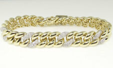 Mens Ladies Pave 10K Yellow Gold Diamond 8.5 Inch Miami Cuban Link Bracelet 5 Ct
