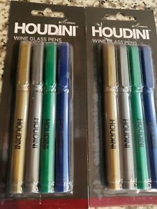 Lot of 2 - Houdini Wine Glass Pen Markers - 4 per pack - Writes on glass/metal!