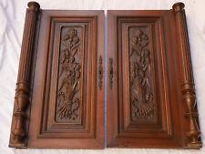 pair French antique door cabinet panel walnut column