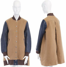 SACAI LUCK navy leaher sleeve camel wool flared back long bomber jacket JP2 M