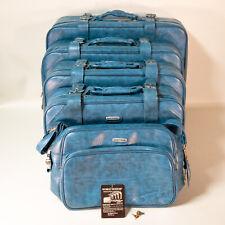 Vintage Regency World Traveler Vintage Faux Blue Leather Luggage Set Of 5