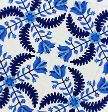 Blue & White Hand Applique Princess Feather Tulips Quilt Top - Nice vine borders