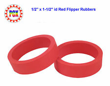 "Two Standard Size 1/2"" x 1-1/2"" id Red Flipper Rubbers (for 3"" flipper bat)"