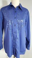 Bob Mackie Wearable Art Blouse Sz S Purple Embellished Sequins Long Sleeve  1255