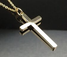 Plain CROSS Pendant Necklace 14ct Gold GF Solid Gift Quality Small