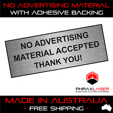 NO ADVERTISING MATERIAL - SILVER SIGN - LABEL - PLAQUE w/ Adhesive 80mm x 30mm
