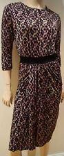 SALONI Black Brown Silk Geometric Animal Print Elastic Waist Formal Dress UK12