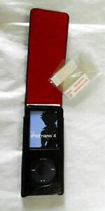 Black Faux Leather embossed flip case for ipod nano 4th gen 8GB 16GB