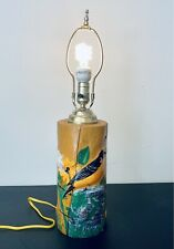 """Vintage 22"""" Rustic Hand-Painted Tree Log Table Lamp Cabin Décor"""