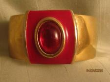 "RARE NAPIER MODERNIST 1 1/4"" GOLD TONE CUFF WITH RED LUCITE CABOCHON & ENAMEL"