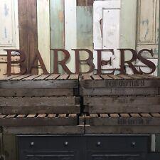 Signo de metal oxidado Rústico barberos carta vintage industrial Tienda Peluquería afeitado
